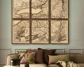 "Upstate New York map 1894, Vintage map of New York state in 5 sizes up to 72x64"" as 1 print or in 6 parts - Limited Edition of 100"