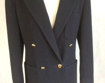 Vintage Blazer Jacket Classic Navy Blue Wool Cashmere House Of Frazer Exclusive 10 UK