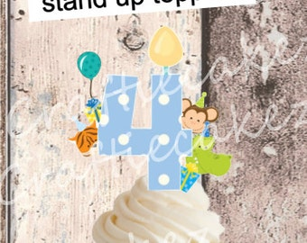 24 x Pre Cut Edible Boys Number 4 Stand Up Cupcake Toppers