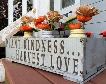 Kindness Planter Box With Mason Jars - Mothers Day Gift - Outdoor Decor - Gardening Decor - Rustic Decor - Mason Jars - Home Decor
