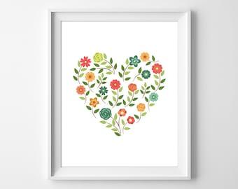Floral Heart Print, Girls Nursery Decor, Instant Download