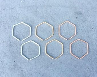 Hexagon earrings, tiny hoops, hexagon hoop earrings, dainty earrings, geometirc earrings, small rose gold hoops, geometric Camille Earrings