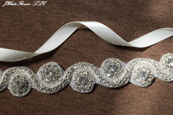 Wedding Sash with Crystal Clear Rhinestone Applique, Bridal Sash, Bridal Chain, Bridal Embellishment, Bride Belt, Bridal Accessory WS11
