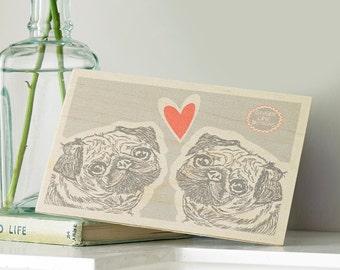 Pug Love Wooden Postcard
