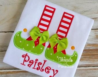 Elf Shoes Applique Shirt, Elf Applique Shirt, Elf Shoes Shirt, Elf Boots Shirt, Holiday Shirt, Holiday Applique Shirt, Elf Applique Shirt