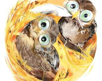 Dwell: Burrowing Owls - Children's Art - Birds - Owls - Nursery