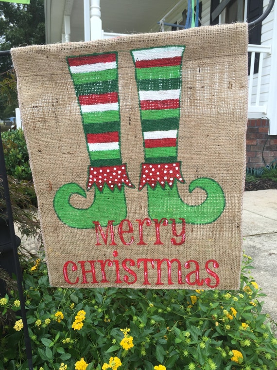 Christmas Decorations Merry Christmas Burlap Banner Flag