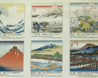 UKIYOE / Japanese Woodblock prints 6 pattern Origami ( Chiyogami ) Paper / Origami Supplies / Hobby / Hokusai, Hiroshige