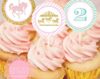 "Custom Printable Carousel Horse Pink/Gold Glitter Party Birthday Celebration 12 Designs 2"" Cupcake Toppers"