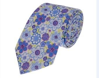 Wedding Ties.Mens Neckties.Floral Neckties.Blue Floral Neckties.Wedding Accessories.