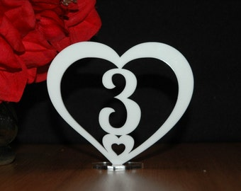 Acrylic Wedding table numbers, Engagement table numbers, table numbers, Heart Shaped Design