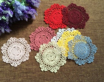 Lot of 20 pcs ~ Lovely hand crochet round doilies, handmade crocheted coasters round ~ ON SALE