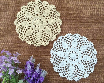 12 pcs in, Vintage style hand crochet round doilies ON SALE, handmade table mats for home / wedding decor ~ Color options