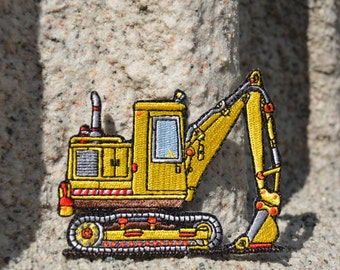 Embroidered Iron On Patch Construction Digger Shovel Whimsical Yellow Vehicle
