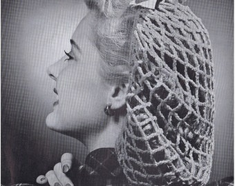 Crochet Snood Pattern Vintage 40s Crochet Hat Pattern Crochet Perky Snood Pattern