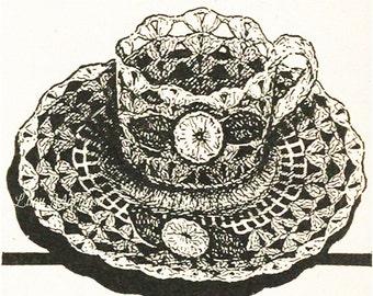 Crochet Tea Cup Pattern Vintage 50s Crochet Wedding Favor Pattern Crochet Saucer Pattern Crochet Cup Pattern Crochet Favor