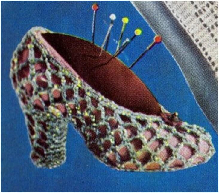 Crochet Shoe Pattern Vintage 50s Crochet Wedding Favor Pattern