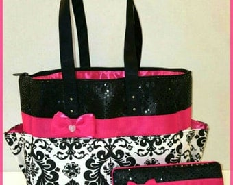 Damask Diaper bag with hot pink bow. Black sequin. Medium size. Wipe case
