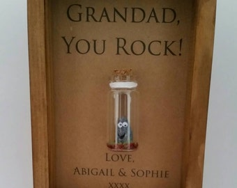 Grandad gift, Grandfather, Grandpa, Birthday Gift, You rock. Can be personalised with names or your own message.