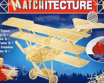 MATCHSTICK MODEL KIT Fokker DR1 Plane Craft Kit, Brand New