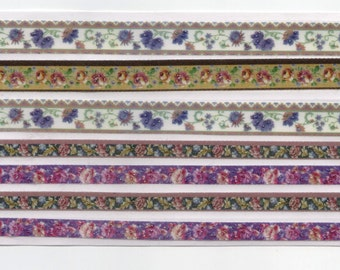 Floral Medley No 2 with Purple Self-Adhesive Craft Ribbon Strip for Cardmaking and Scrapbooking