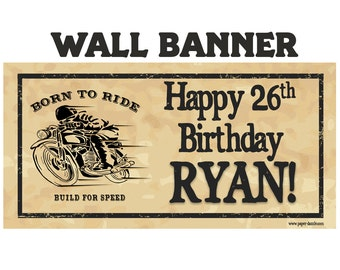 Born to Ride Birthday Banner- Happy Birthday Large Banner- Motorcycle Photo Backdrop, Custom Personalized Banner,