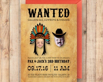 Cowboy Party Invitation | Cowboys and Indians | Little Boy's Birthday Invitation | Wanted Party Invitation