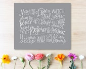 bedtime blessing (grey) hand lettered print // nursery art print // kids room art print // nursery kids room wall art // new baby gift
