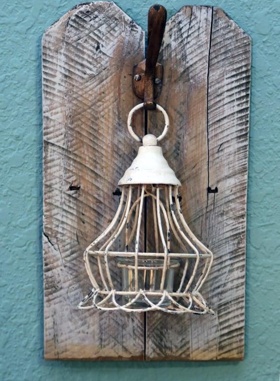 Items similar to White Lantern wall decor, bathroom decor, housewarming gift, gold wrought iron ...