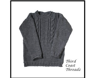 Charcoal Gray Handknit Heavyweight Wool Sweater