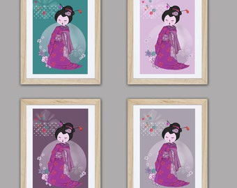 4 posters of geisha, children art, baby girl nursery, kids room decor, girl room art, girl decor, wall art, princess