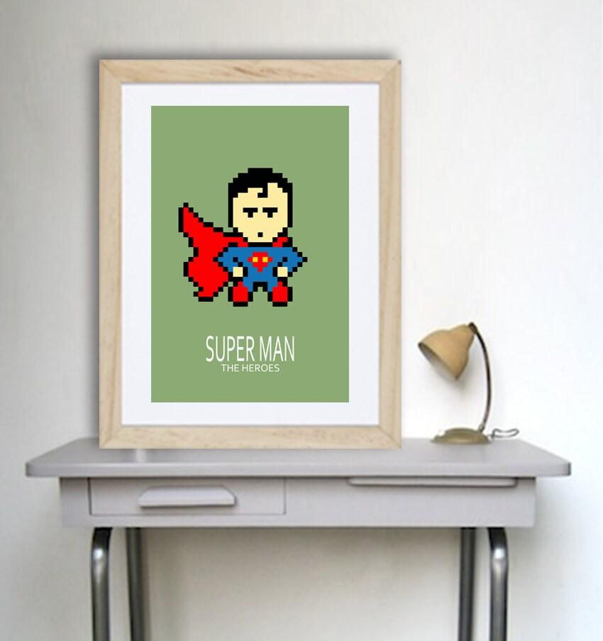 Affiche superman super heros pour chambre enfant et salle de - Deco chambre super heros ...