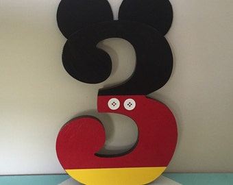 Custom Decorated Wooden Number - Letter - Mickey Mouse - Minnie Mouse