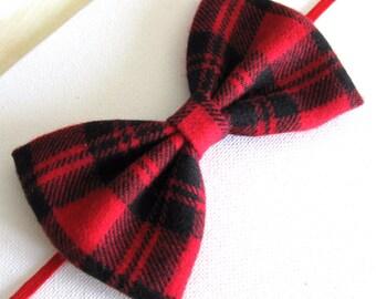 Christmas Headband - Plaid Baby Bow Headbands - Baby Hair Bands - Red Black Baby Bow Headband - Girls Hair Bow - Flannel Big Hair Bows