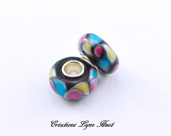 Choose 2 or 5 charm beads Murano glass, European style Black with color patterns Blue, Purple, Yellow and Pink !