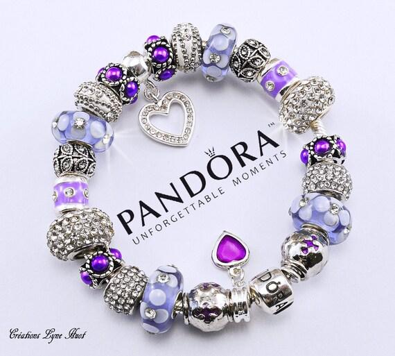 Authentique Bracelet Pandora Argent Sterling Avec Charmes Ou