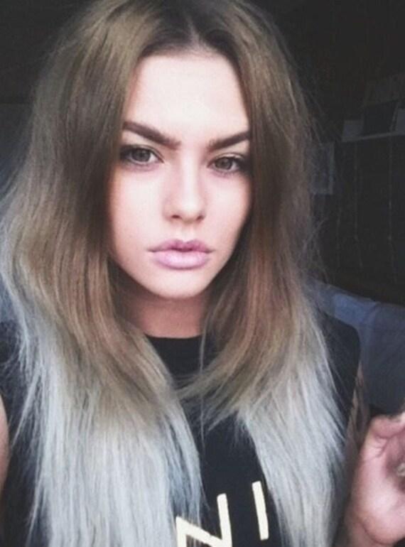 Colour 8 Ash Brown Int Silver Grey Hair Extensions Dip Dye 8a
