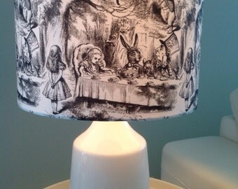 Drum Lamp shade, Alice in wonderland 'mad hatter party'