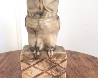 Vintage Carved Alabaster Owl