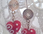 Red Heart Earrings,Valentine jewlery, OOAK, Romantic Jewelry, Wedding, Anniversary, Christmas, Love gift