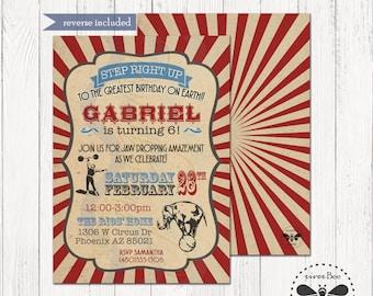 Cirucs Birthday Invitation Printable / Vintage Cirucs Party DIGITAL Invite / Rustic Carnival Party Printable