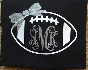 Football Spirit Shirt with Monogram and Bow-Adult Sizes-Short Sleeve or Long Sleeve