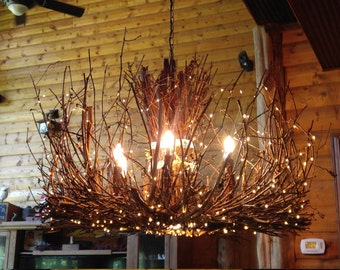 Grapevine Chandelier: The Castle Rock - 6 + 1 Twig Light - Rustic Grapevine Chandelier - Down  Light - 300 leds - Branch Light Fixture,Lighting