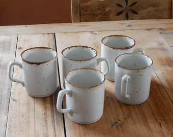 Vintage Stoneware Coffee Tea Mug Set of 5 Made in England C & E
