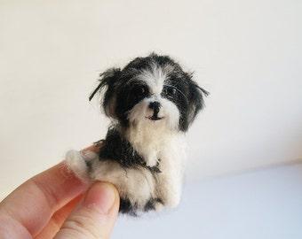 Shih Tzu Miniature custom pet portrait dog memorial Shih Tzu Needle felt dog brooch Pet loss gifts Felt Animals dog magnet dog ornament