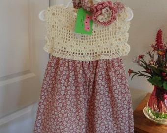 Crochet yoke dress with cotton skirt 18 to 24 mo.