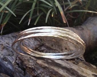 Stacking bangle, bangle bracelet, hammered bangle, stackable bangle, silver bangle, Made in Australia, thin silver bangles, delicate bangles