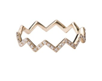 zig zag diamond ring,  zig zag 14k gold and diamond ring, pave diamond ring