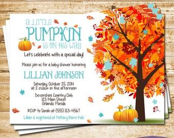 Boy Little Pumpkin Baby Shower Invitation Blue Autumn Fall Baby Shower Invite - Fall Leaves Fall Tree - Luncheon Shower - 1412 PRINTABLE
