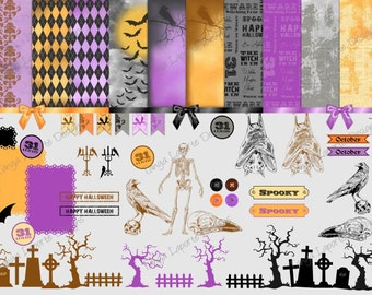Halloween Clipart and Digital Paper Set - 63 Clipart & 12 Papers - Instant Download - Digital Files